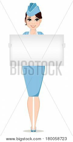 Stewardess in professional uniform. Cute smiling woman working as air hostess holding blank sign. Crew member of a civil aircraft. Cheerful cartoon character. Vector stock illustration.