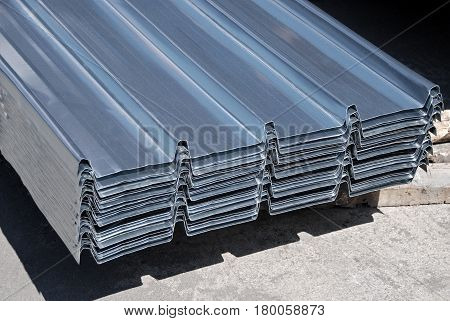Close up stack of steel Tin panels