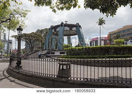 SAN JOSE,COSTA RICA-MARCH 04, 2017: Central park with kiosk in San Jose, Costa Rica