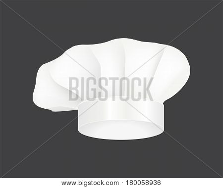 Modern white chef hat restaurant cuisine uniform and costume wear fabric occupation cooker french fashion vector illustration. Gourmet head professional clean cap clothing.