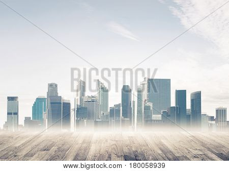 Background image with modern cityscape and wooden floor or surface
