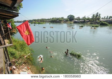 View At River Mekong In Don Det Island On Laos