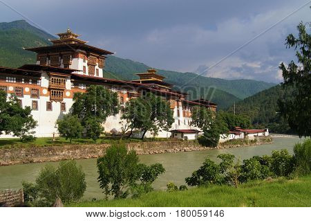 View of Phunakha Dzong, a traditional temple located  in Phunakha, Bhutan,
