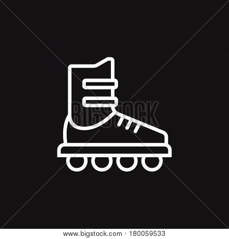 Inline skate line icon roller outline vector sign linear pictogram isolated on black. logo illustration