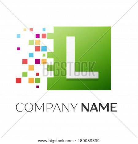 Letter L vector logo symbol in the colorful square with shattered blocks on white background. Vector template for your design