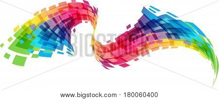 Multicolored wave isolated in white background, vector illustartion