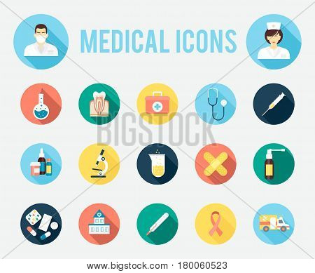 Medical tools and equipment, science research and health treatment service. Flat style with long shadows, vector set of medical icons.