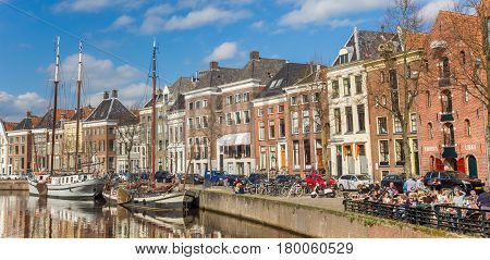GRONINGEN, NETHERLANDS - APRIL 03, 2017: Panorama of warehouses along a canal in Groningen, Holland