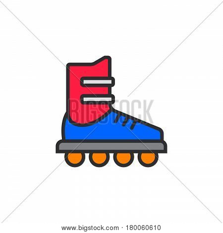 Inline skate line icon roller filled outline vector sign linear colorful pictogram isolated on white. logo illustration