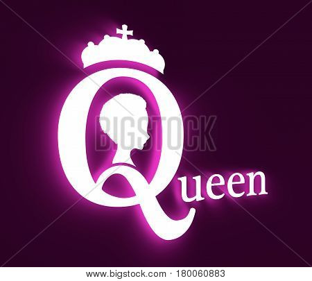 Vintage queen silhouette. Medieval queen profile. Elegant silhouette of a female head. Short hair. Royal emblem with Q letter. 3D rendering. Neon shine