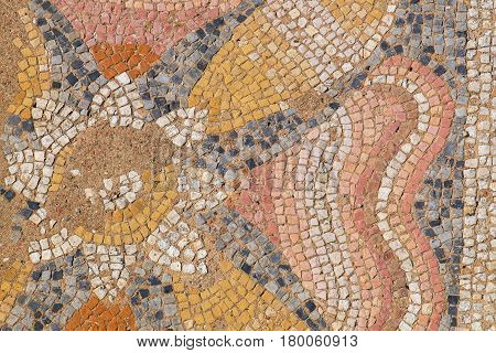 Fragment of antique mosaic in the Archaeological Park of Dion. Pieria Macedonia Greece