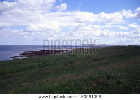 Shoreline at the Holy Island of Lindisfarne in Northumberland