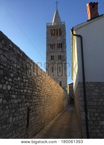 View of church tower on Rab island, Croatia