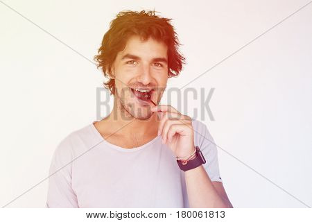 Adult Man Hand Hold Lollipop Expression Studio Potrait