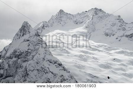 Ski mountain resort in the Caucasus mountains, Dombai, Russia