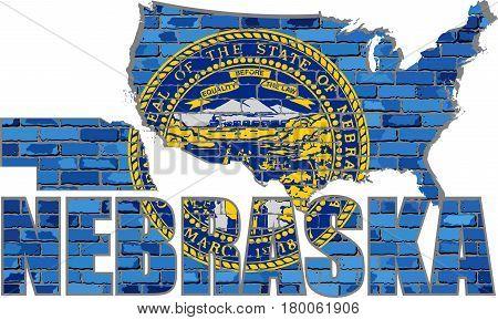 Nebraska on a brick wall - Illustration