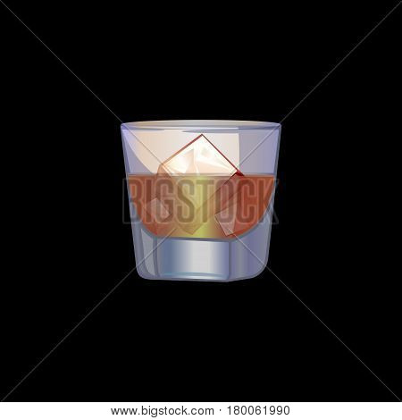 Cold drinks . A glass with ice. Alcohol cocktail. Glassware . Vector illustration