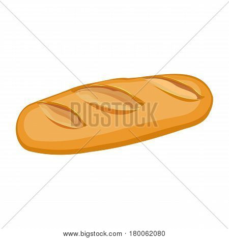 Long loaf of wheat bread flat material design object isolated on white. Vector illustration of French baton bakery product in realistic style