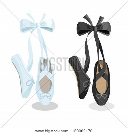 Black and white pointes female ballet shoes flat design on white background. Vector illustration of gym ballet shoes standing on tiptoes web banner.