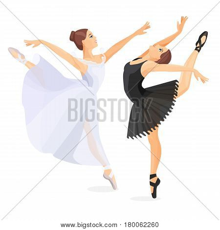 Three young ballet dancers standing in pose flat design on white background. Set of hand drawn sketches. Vector illustration of ballerinas in special dancing dresses