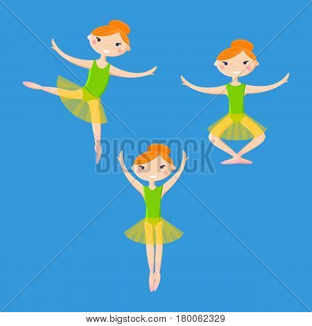 Little smiling ballerinas in dance pattern art cartoon style on white background. Set of three girls in tutus and pointe in different poses. Vector illustration of little ballerinas flat design.