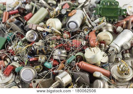 Retro transistors, resistors, radio parts backgraund Vintage collection