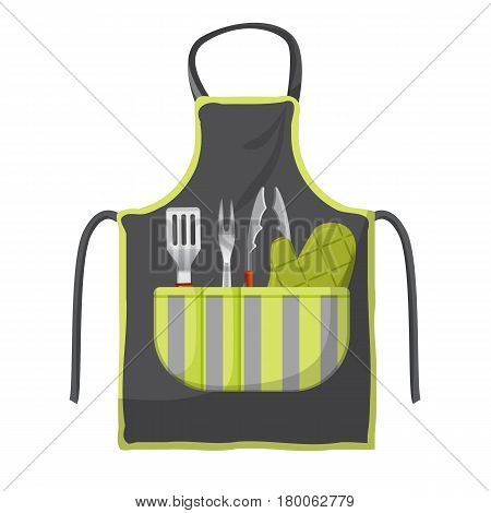 Black apron with various accessories in pocket for grill isolated on white. Shovel with red handle, fork with two tips, metallic clamps, green mitten packed in gray-green pouch vector illustration