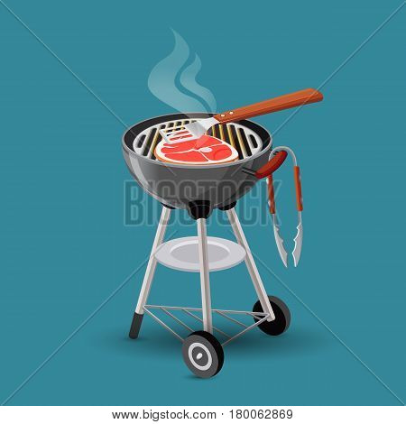 Meat fried on barbecue grill icon in cartoon style isolated on blue. Big steak cooking on portable grill. Spatula with wooden handle lying on flesh. Vector illustration web banner flat design.