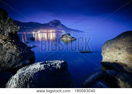 Magical Black sea in the evening light. Breathtaking scene. Location place Crimea, Ukraine, Europe. Blue toning effect. Wonderful image of wallpaper. Art photography. Discover the world of beauty.