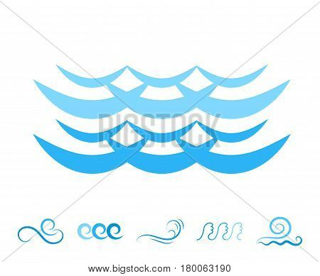 Blue Sea Wave Icons or Water Liquid Symbols Isolated on White. River or Oceanic Flowing Sign Bending Lines
