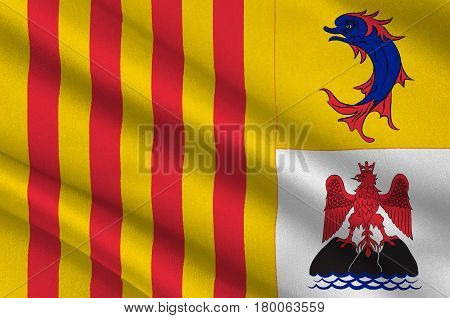 Flag of Provence-Alpes-Cote d'Azur or PACA is one of the 18 administrative regions of France. Its capital is Marseille. 3d illustration