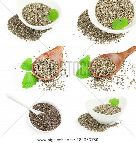 Collage of chia seeds on a isolated white background