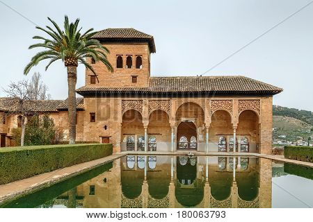 Partal Palace with pool in Alhambra garden Granada Spain