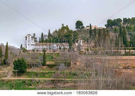 View of Generalife palace and gardens from Alhambra garden Granada Spain