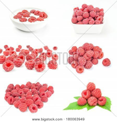 Group of ripe raspberries isolated over a white background