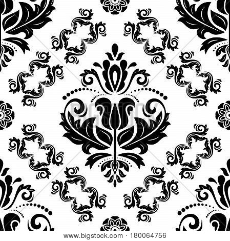 Damask vector classic black and white pattern. Seamless abstract background with repeating elements. Orient background