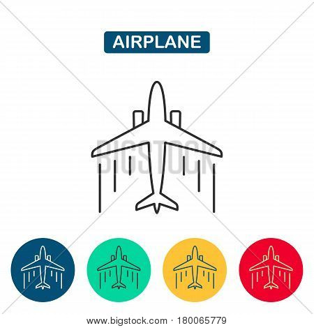 Modern vector line icon of airplane flight, vacation trip. Top view.  Flying in the clouds. Can be used as a logo for the airline, for web sites, infographic and other.