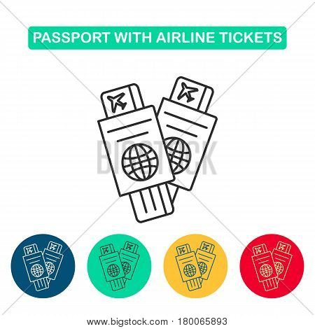 Passport with air ticket line icon. Travel icons for web and graphic design. Line style logo. Vector illustation.