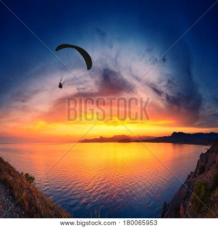 Paraglide Above The Sea Sunset