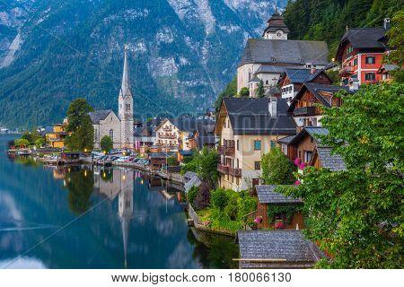 Hallstatt Mountain Village In Twilight, Salzkammergut, Austria