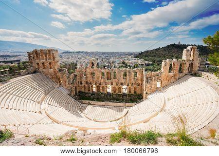 Herodes Atticus amphitheater of Acropolis, Athens, Greece