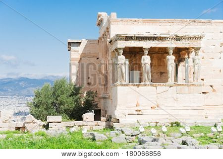 Erechtheion temple in Acropolis of Athens, Greece