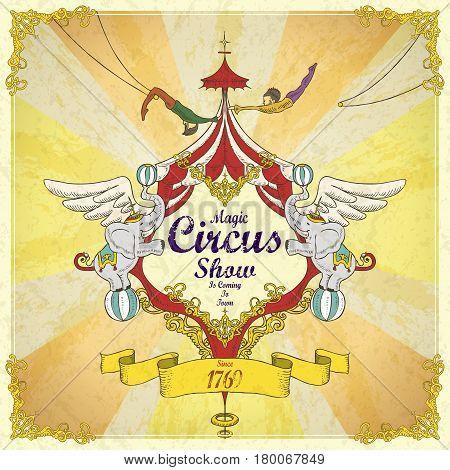 Amazing Magic Circus Show Vintage Poster