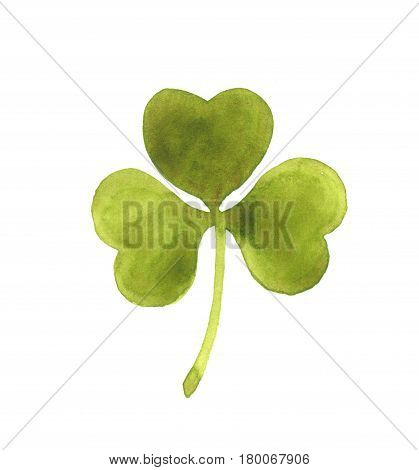 Clover leaf. Watercolor illustration. Isolated on white