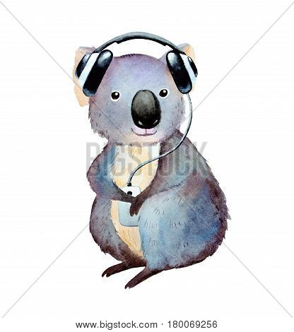 Watercolor koala with player and headphones clip-art isolated on white background.