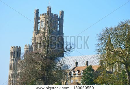 Medieval Ely Cathedral tower from the distance