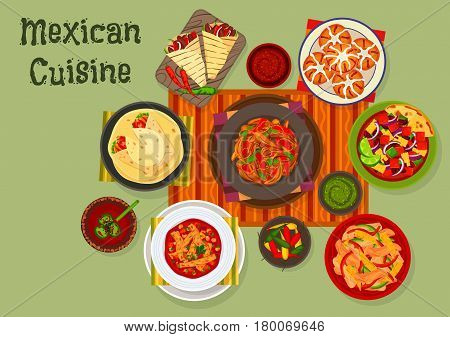 Mexican cuisine chilli chicken icon served with tomato sauce salsa, vegetable salad, grilled beef fajitas, chicken burrito with bean, corn pepper salad, tomato tortilla soup, sweet bread with raisins
