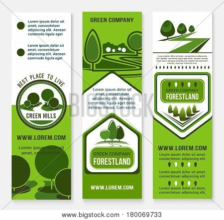Green building and eco sustainable living banner template. Ecology friendly business card and flyer set with green nature landscape of forest tree and plant for green building, eco real estate design