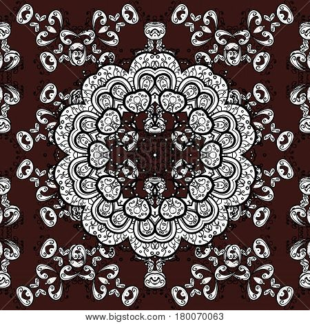 Classic vintage background. Seamless pattern on brown background with white elements. Classic vector white seamless pattern. Traditional orient ornament.
