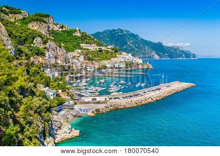 Postcard View Of Amalfi Coast, Campania, Italy